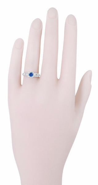 1950's Vintage Inspired Cornflower Blue Sapphire Engagement Ring in 14 Karat White Gold with Diamonds - Item: R728W - Image: 4