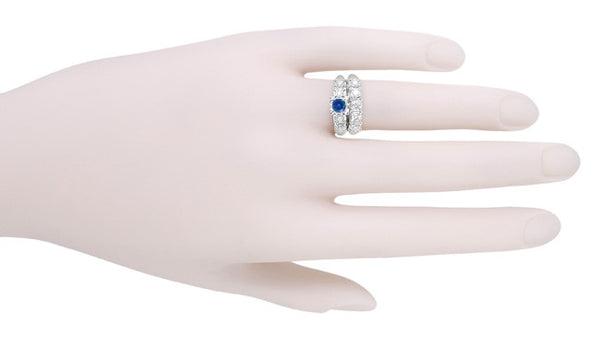 1950's Vintage Inspired Cornflower Blue Sapphire Engagement Ring in 14 Karat White Gold with Diamonds - Item: R728W - Image: 5