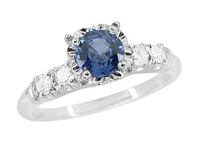 1950's Vintage Inspired Cornflower Blue Sapphire Engagement Ring in 14 Karat White Gold with Diamonds - Item: R728W - Image: 1