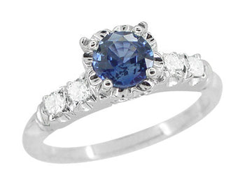 1950's Vintage Inspired Cornflower Blue Sapphire Engagement Ring in 14 Karat White Gold with Diamonds