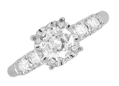 Mid Century Vintage Style Diamond Engagement Ring in 14 Karat White Gold - Item: R728WD - Image: 2