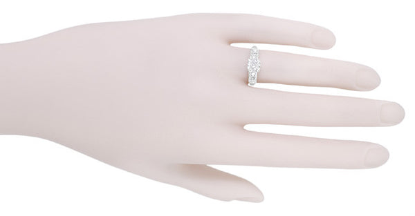 Mid Century Vintage Style Diamond Engagement Ring in 14 Karat White Gold - Item: R728WD - Image: 4