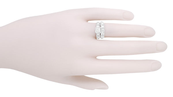 Mid Century Vintage Style Diamond Engagement Ring in 14 Karat White Gold - Item: R728WD - Image: 5