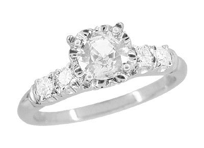Mid Century Vintage Style Diamond Engagement Ring in 14 Karat White Gold - Item: R728WD - Image: 1