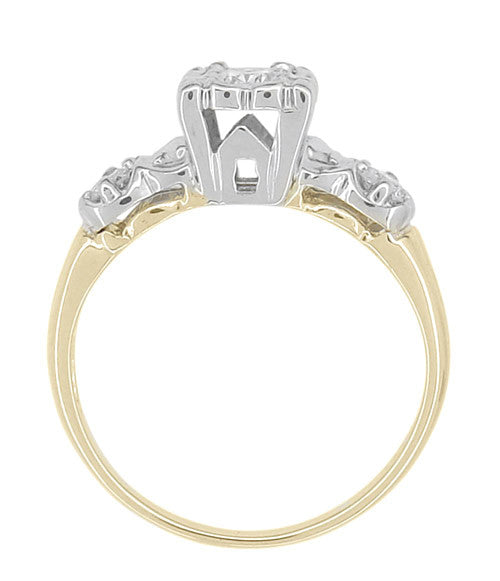 Square Top 1950u0027s Vintage Diamond Engagement Ring In 14K Two Tone White And  Yellow Gold