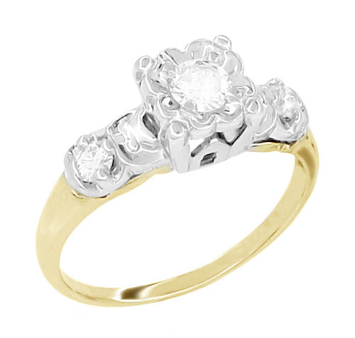 Square Top 1950 S Vintage Diamond Engagement Ring In 14k
