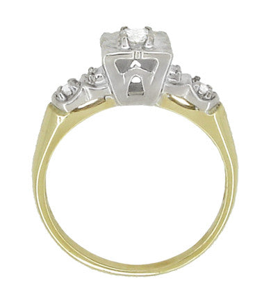 Vintage Art Deco Clover Diamond Engagement Ring in 14 Karat Yellow and White Gold - Item: R738 - Image: 1