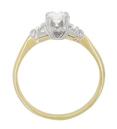 Mid Century Diamond Antique Engagement Ring in 14 Karat White and Yellow Gold - Item: R741 - Image: 2
