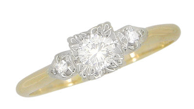 Mid Century Diamond Antique Engagement Ring in 14 Karat White and Yellow Gold - Item: R741 - Image: 1