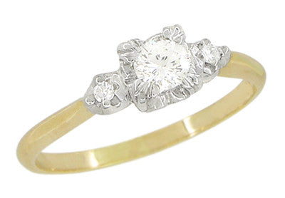 Mid Century Diamond Antique Engagement Ring in 14 Karat White and Yellow Gold
