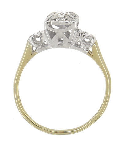 Art Deco Vintage Diamond Engagement Ring in 14 Karat White and Yellow Gold - Item: R743 - Image: 3