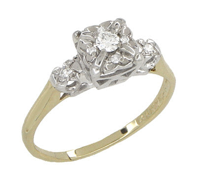 Art Deco Vintage Diamond Engagement Ring in 14 Karat White and Yellow Gold - Item: R743 - Image: 1