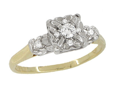 Art Deco Vintage Diamond Engagement Ring in 14 Karat White and Yellow Gold