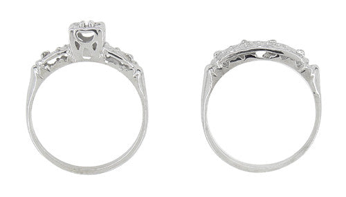 Art Deco Antique Wedding Ring and Clover Engagement Ring Set in 14 Karat White Gold - Item: R744 - Image: 2
