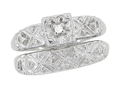 Art Deco Antique Wedding Ring and Clover Engagement Ring Set in 14 Karat White Gold - Item: R744 - Image: 1