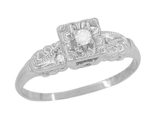 Retro Moderne Scrolls and Clover Vintage Diamond Engagement Ring in 14 Karat White Gold