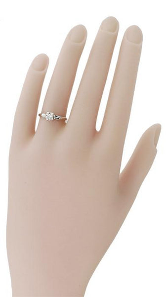 Macie 1930's Vintage Diamond Engagement Ring in 18K White Gold - Item: R749 - Image: 1