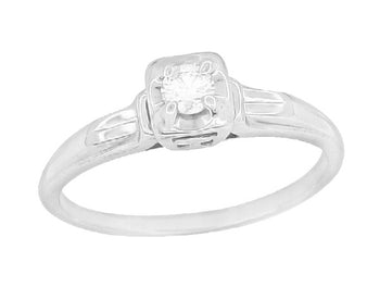 Macie 1930's Vintage Diamond Engagement Ring in 18K White Gold