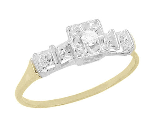 Petite Vintage 1940's Diamond Solitaire Engagement Ring in 14K Yellow and White Gold | Art Deco