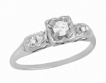 1950's Heirloom Diamond Engagement Ring in 14 Karat White Gold - Vintage Promise Ring