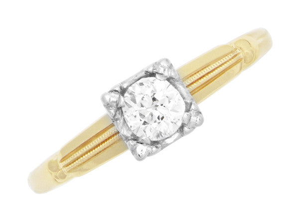 Vintage 1940's Heirloom Diamond Engagement Ring in Two-Tone 14 Karat Gold - Item: R769 - Image: 3