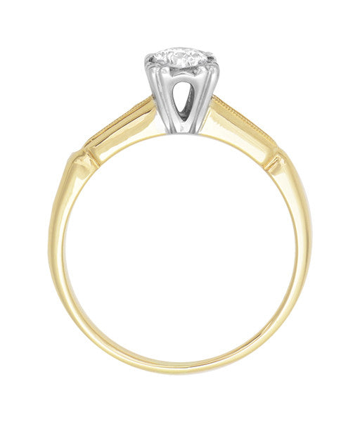 Vintage 1940's Heirloom Diamond Engagement Ring in Two-Tone 14 Karat Gold - Item: R769 - Image: 4