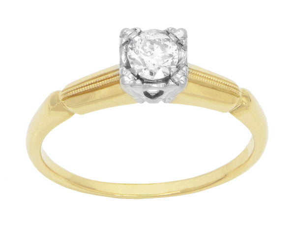 Vintage 1940's Heirloom Diamond Engagement Ring in Two-Tone 14 Karat Gold - Item: R769 - Image: 1