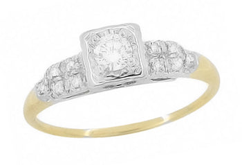 Dakota Art Deco Diamond Antique Engagement Ring in 14 Karat White and Yellow Gold