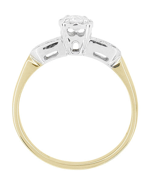 Two Tone Vintage Art Deco Diamond Engagement Ring in 14 Karat White and Yellow Gold - Item: R772 - Image: 1