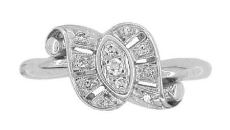 Antique Retro Moderne Scroll Bow Diamond Ring in 14 Karat White Gold - Item: R774 - Image: 2
