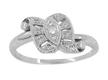 Antique Retro Moderne Scroll Bow Diamond Ring in 14 Karat White Gold