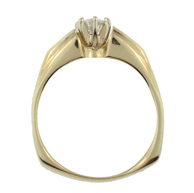 Estate Square Bottom Diamond Engagement Ring in 14 Karat Yellow Gold - Item: R779 - Image: 1