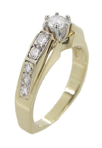 Estate Square Bottom Diamond Engagement Ring in 14 Karat Yellow Gold