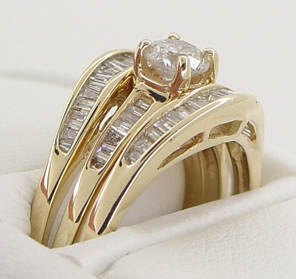 Estate Baguettes Diamond Engagement Ring and Double Hugger Wedding Set in 14 Karat Gold - Item: R780 - Image: 1