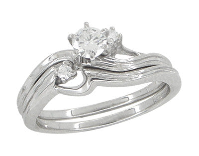 Flowing Waves Diamond Vintage Wedding and Engagement Ring Set in 14 Karat White Gold