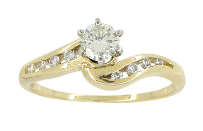 Cascading Diamonds Estate Engagement Ring in 14 Karat Yellow Gold - Item: R786 - Image: 4
