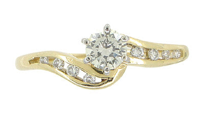Cascading Diamonds Estate Engagement Ring in 14 Karat Yellow Gold - Item: R786 - Image: 1