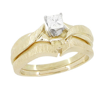 1980's Princess Cut Diamond Solitaire Vintage Engagement Ring and Wedding Ring Set with Bark Finish in 14 Karat Yellow Gold