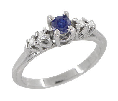 Blue Sapphire and Diamond Vintage Ring in 18 Karat White Gold - Item: R789 - Image: 2