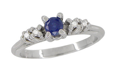 Blue Sapphire and Diamond Vintage Ring in 18 Karat White Gold