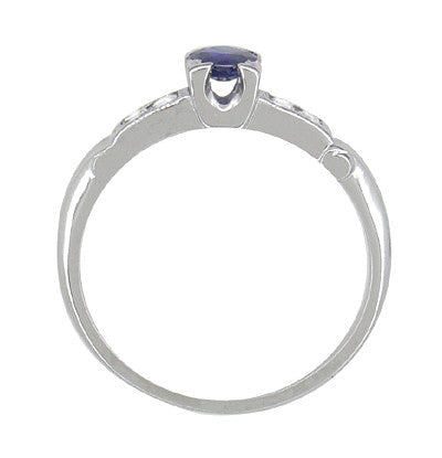 Antique Art Deco Blue Sapphire and Diamond Ring in 18 Karat White Gold - Item: R791 - Image: 1