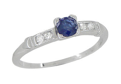 Antique Art Deco Blue Sapphire and Diamond Ring in 18 Karat White Gold