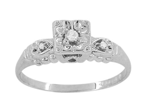 Retro Moderne Hearts and Clover Vintage Diamond Engagement Ring in 14 Karat White Gold