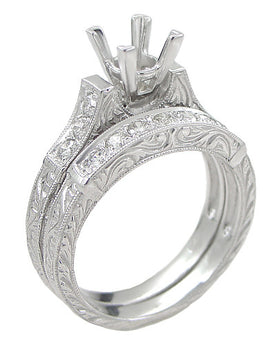 Art Deco Scrolls 1 Carat Princess Cut Diamond Engagement Ring Setting and Wedding Ring in 18 Karat White Gold