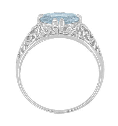 Edwardian Oval Aquamarine Filigree Engagement Ring in 14 Karat White Gold | Fleur de Lys - Item: R799A - Image: 2