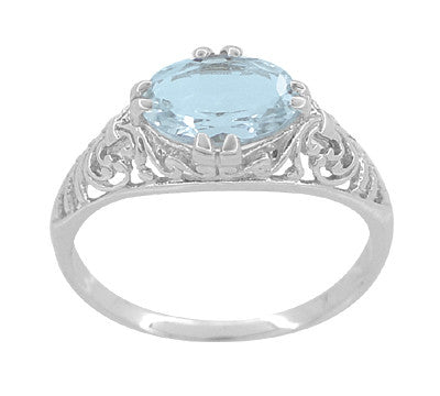 Edwardian Oval Aquamarine Filigree Engagement Ring in 14 Karat White Gold | Fleur de Lys - Item: R799A - Image: 3