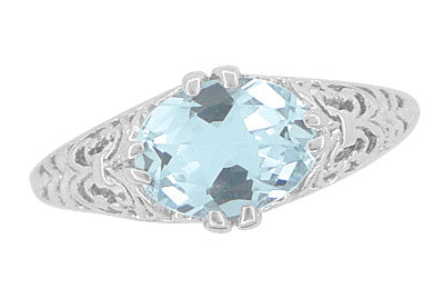 Edwardian Oval Aquamarine Filigree Engagement Ring in 14 Karat White Gold | Fleur de Lys - Item: R799A - Image: 4