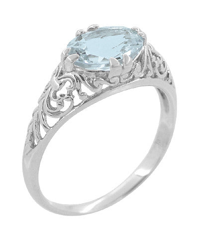 Edwardian Oval Aquamarine Filigree Engagement Ring in 14 Karat White Gold | Fleur de Lys
