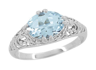 Edwardian Oval Aquamarine Filigree Engagement Ring in 14 Karat White Gold | Fleur de Lys - Item: R799A - Image: 1