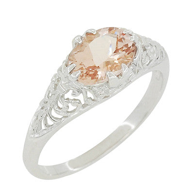 Morganite Oval East West Filigree Edwardian Engagement Ring in 14 Karat White Gold - Item: R799M - Image: 2